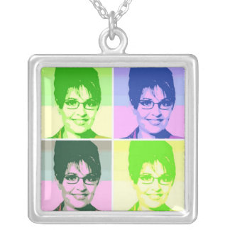 Sarah Palin Pop Art Silver Plated Necklace
