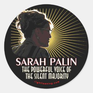 Sarah Palin Powerful Voice Classic Round Sticker