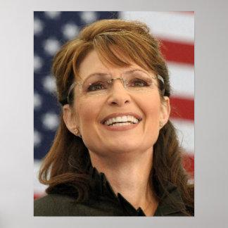 Sarah Palin que sonríe con la bandera Posters