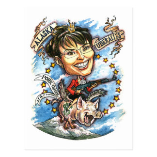 Sarah Palin, Queen of Pork Postcard