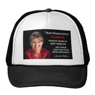 Sarah Palin Quote - Clobber Obama Trucker Hat