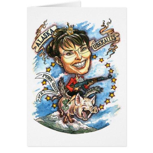 Sarah Palin, reina del cerdo Felicitacion