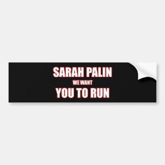 Sarah Palin Run 2012 Bumper Sticker