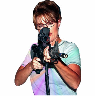 Sarah Palin Shooting To Her Left Statuette
