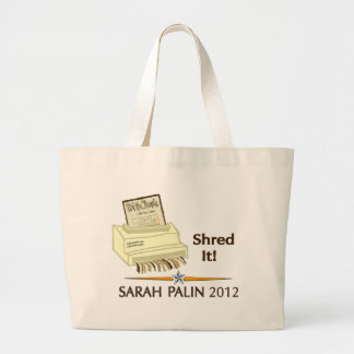 Sarah Palin SHRED THE CONSTITUTION Large Tote Bag