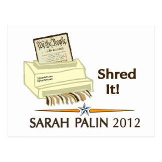 Sarah Palin SHRED THE CONSTITUTION Postcard