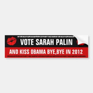 SARAH PALIN VOTE FOR SARAH PALIN & KISS OBAMA BYE BUMPER STICKER