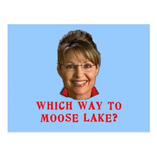 Sarah Palin Which Way to Moose Lake Humor Postcard