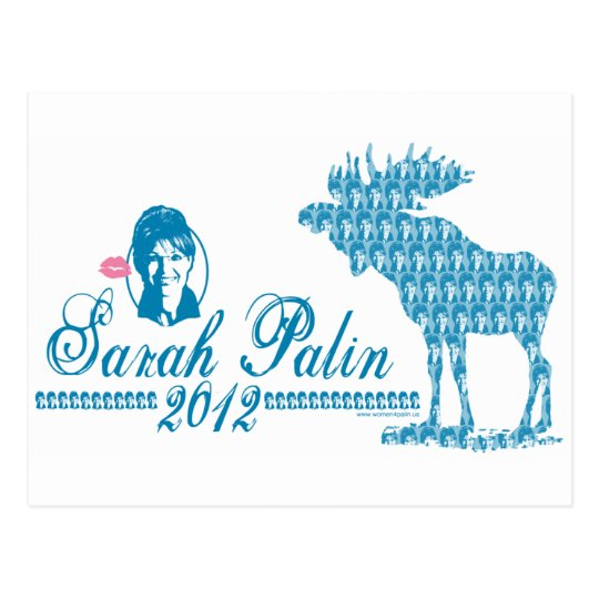 Sarah Palin with Moose Art Postcard
