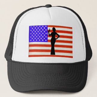 Sarah Palin Woman of Mystery on the US Flag Trucker Hat