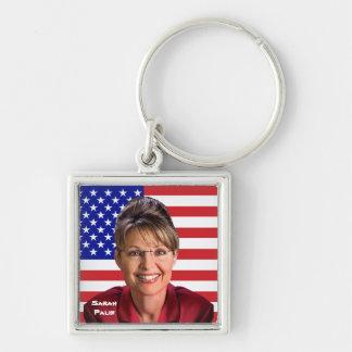 Sarah Palin y bandera de los E.E.U.U. Llavero Cuadrado Plateado