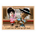 Sarah Palin y Obama Mano un Mano Tarjeta Postal