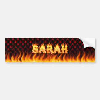 Sarah real fire and flames bumper sticker design.