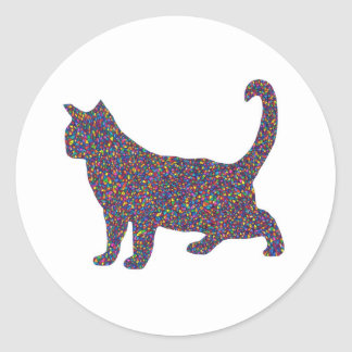 Sarah Stained Glass Cat Classic Round Sticker