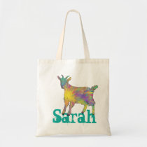 Sarah Starburst Goat Colourful Cute Animal Art Tote Bag