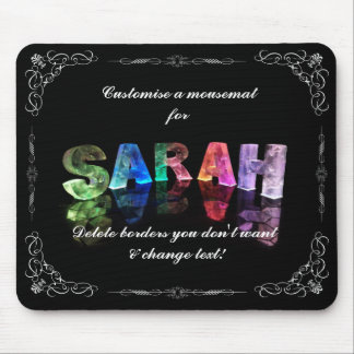 Sarah  - The Name Sarah in 3D Lights (Photograph) Mouse Pad