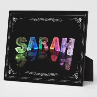 Sarah  - The Name Sarah in 3D Lights (Photograph) Plaque