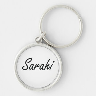 Sarahi artistic Name Design Silver-Colored Round Keychain