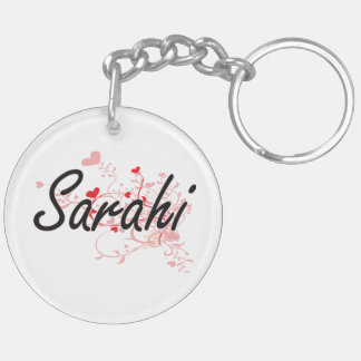 Sarahi Artistic Name Design with Hearts Double-Sided Round Acrylic Keychain