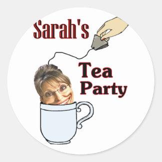 Sarah's Tea Party Classic Round Sticker