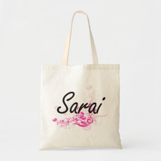 Sarai Artistic Name Design with Flowers Tote Bag