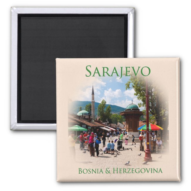 Sarajevo: Pigeon Square in the Old Bazaar Magnet
