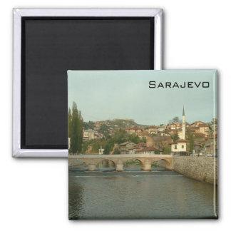 Sarajevo - puente latino imán cuadrado