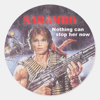 sarambo, sara, palin, rambo, john, j, sly, john, m classic round sticker