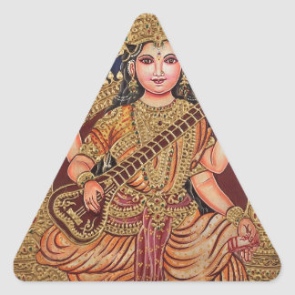 SARASAWATI ANTIQUE INDIAN PAINTING PRINT TRIANGLE STICKER