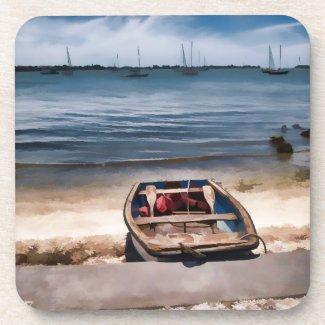 Sarasota Bay boat on the beach Beverage Coaster