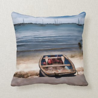 Sarasota Bay Boat on the beach Throw Pillow