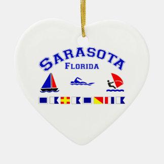 Sarasota FL Signal Flags Double-Sided Heart Ceramic Christmas Ornament