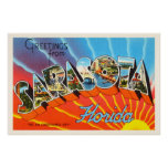 Sarasota Florida FL Old Vintage Travel Souvenir Poster