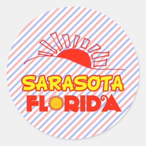 Sarasota, la Florida Pegatina Redonda