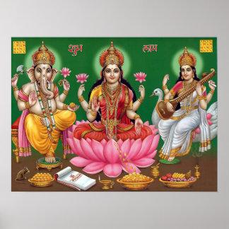 Saraswati de Ganesha Laxmi Póster