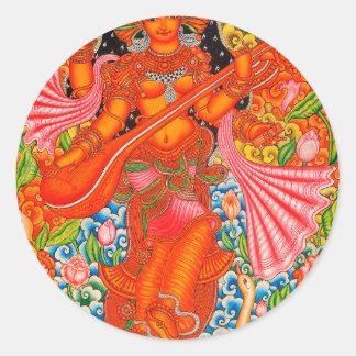 SARASWATI HINDU GODDESS OF LEARNING TANJORE CLASSIC ROUND STICKER
