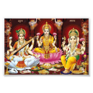 """Saraswati, Lakshmi, & Ganesha Print (6"""" x 4"""") Art Photo"""