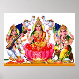 Saraswati, Laxmi, Ganesha Póster