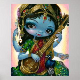 Saraswati que juega la IMPRESIÓN hindú del arte de Poster