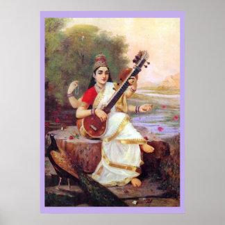 Saraswati se sienta en el banco de un río póster