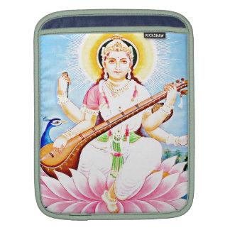 Saraswati Sitting on Pink Lotus Sleeve For iPads