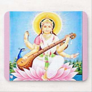 Saraswati Sitting on Pink Lotus Mouse Pad