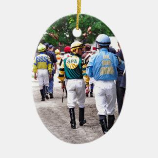 Saratoga Jockeys Ceramic Ornament