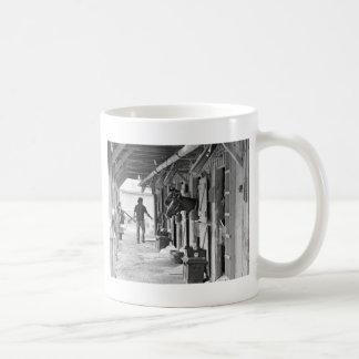 Saratoga Shedrow at Horse Haven Classic White Coffee Mug
