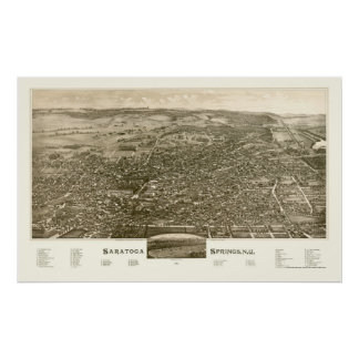 Saratoga Springs, mapa panorámico de NY - 1888 Impresiones