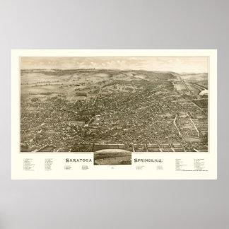 Saratoga Springs, mapa panorámico de NY - 1888 Póster