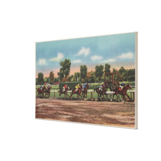 Saratoga Springs, NY - Horse Race Track Scene Stretched Canvas Print