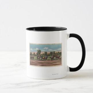 Saratoga Springs, NY - Horse Race Track Scene Mug