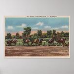 Saratoga Springs, NY - Horse Race Track Scene Print