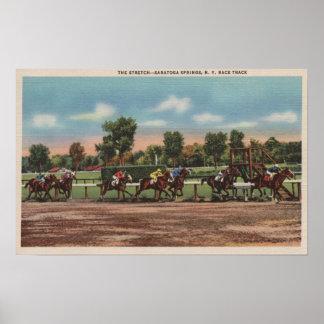 Saratoga Springs, NY - Horse Race Track Scene Poster